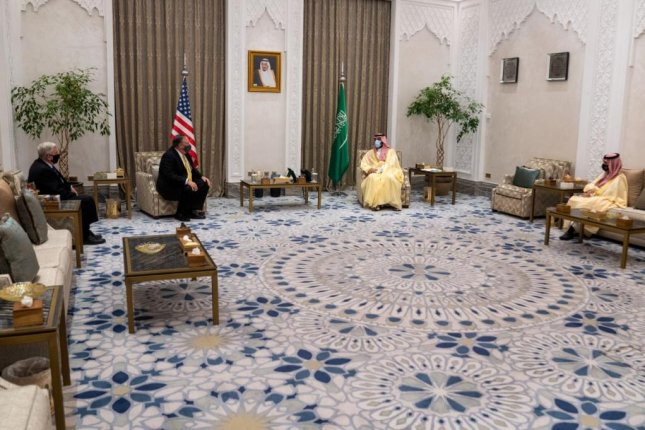 U.S. Secretary of State Mike Pompeo, second from left, meets with Saudi Crown Prince Mohammed bin Salman, center-right, in Neom, Saudi Arabia, on Sunday. Israeli Prime Minister Benjamin Netanyahu also visited with the crown prince for the first time, officials said. Photo courtesy Secretary of State Mike Pompeo/Twitter
