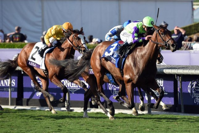 New Money Honey, seen winning the 2016 Breeders' Cup Juvenile Fillies Turf at Santa Anita, is among the favorites for Saturday's Grade I American Oaks over the same course. Photo courtesy of Breeders' Cup