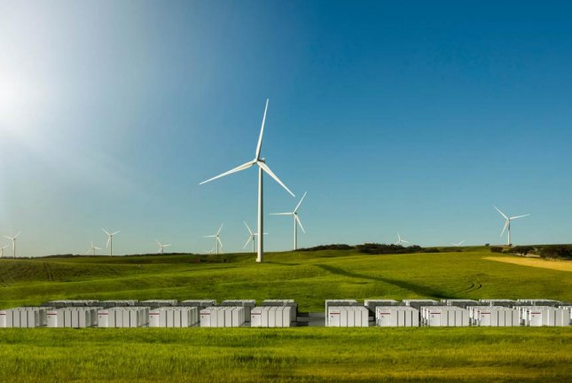 An artistic rendering shows Tesla's Powerpack system installed next to the Hornsdale wind farm near Jamestown, South Australia. Photo by Tessla