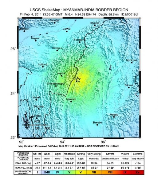 A ShakeMap of the earthquake, courtesy of the U.S. Geological Survey.