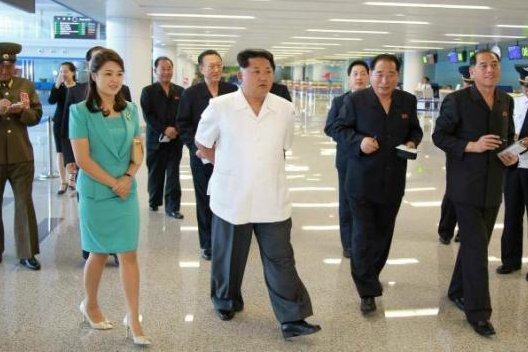 North Korean leader Kim Jong Un takes a tour of the second terminal of Sunan International Airport in July. Kim purged the original architect last November. File Photo by Rodong Sinmun/Yonhap