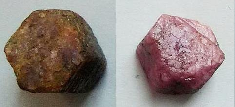 A red ruby, before and after its time in the microwave. Photo by Subhashree Swain/Applied Physics A