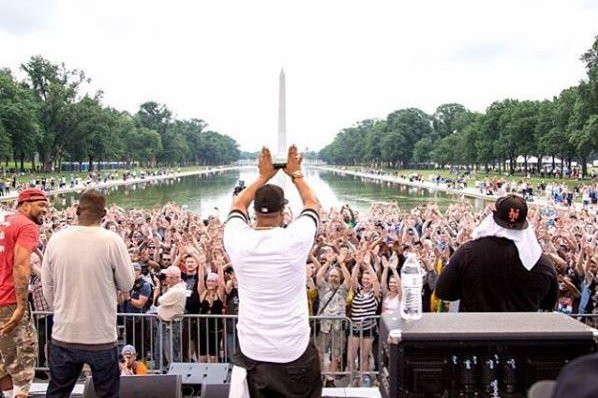 Members of the Wu-Tang Clan rap group perform at the Reason Rally 2016 in Washington, D.C., on Saturday. Photo by Reason Rally/Instagram