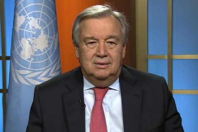 New U.N. Secretary General Antonio Guterres delivers a message to the international community on Sunday to call for peace in 2017. Sworn-in in December, the former Portuguese prime minister took office Sunday and will serve at least one five-year term, expiring Dec. 31, 2021. Image courtesy United Nations TV