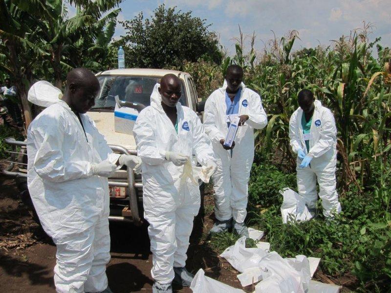 Field workers in Uganda test Ebola virus samples. Photo by Justin Williams