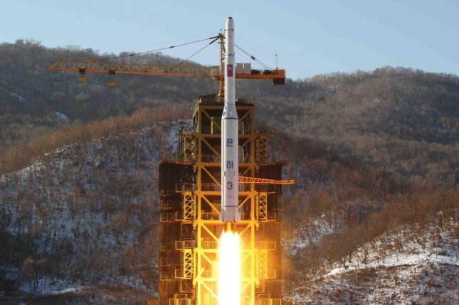 The 'Unha-3' lifts off on Dec. 12, 2012, from North Korea's Sohae Satellite Launching Station in Dongchang-ri, North Pyongan province. The United States, South Korea and Japan are cooperating closely on military intelligence in the wake of North Korea's recent rocket launch announcement. File Photo by Yonhap