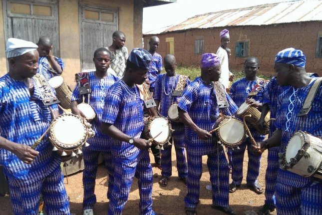 The Ifesowapo dùndún ensemble is pictured performing in Igbo Ora, a city in southwest Nigeria. Photo by Cecilia Durojaye