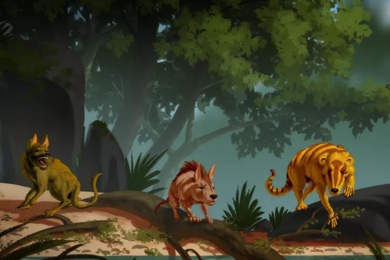 An artist's rendering imagines the three newly discovered mammal species, Conacodon hettingeri (L-R), Miniconus jeanninae and Beornus honeyi. Photo courtesy of Banana Art Studio