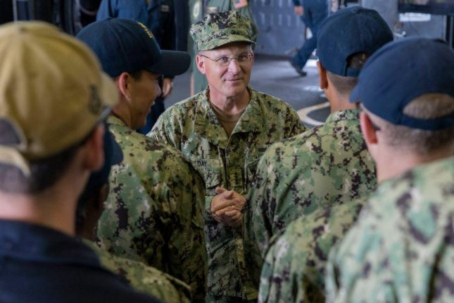 Rear Adm. Michael Gilday, C, here aboard the USS Kearsarge, appeared in a Navy video aimed at stopping discrimination in the Navy. A task force was organized to combat the problem, the Navy announced on Tuesday. Photo by MCS2 Nick Brown/U.S. Navy/UPI
