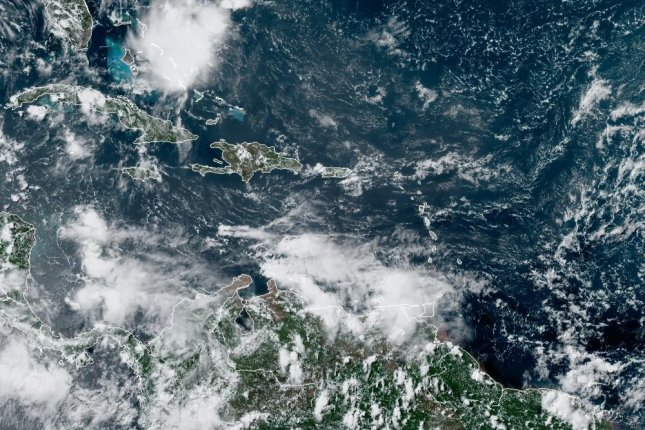 Gonzalo weakened to a tropical depression Saturday afternoon. Photo courtesy of NOAA