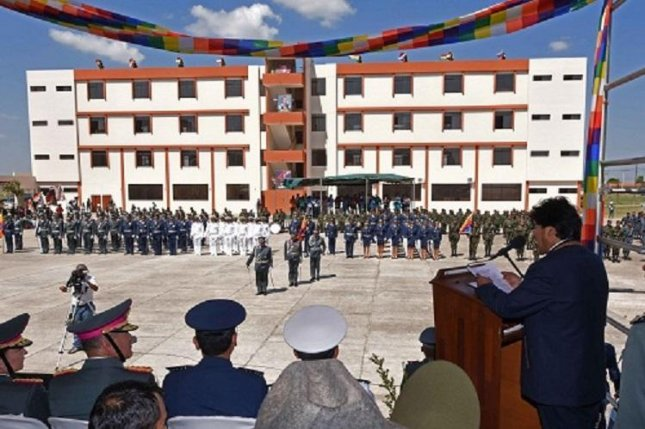 Bolivia on Wednesday inaugurated a military academy called the Anti-Imperialist School that President Evo Morales said will counteract the imperialist influence of the United States. Photo courtesy of Bolivian Ministry of Defense