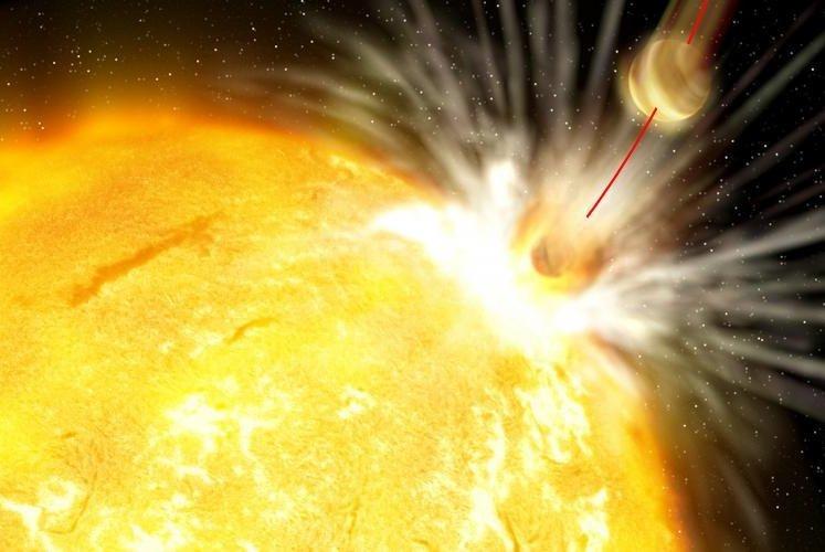An illustration shows a planet being consumed by its sun. Photo by Gabi Perez/Instituto de Astrofísica de Canarias