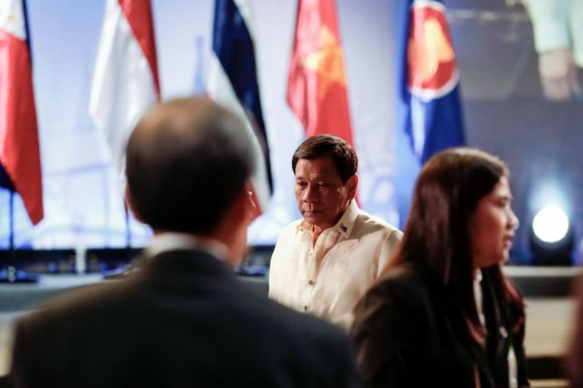 Philippine President Rodrigo Duterte at the opening cermeony of the 30th ASEAN Summit in Manila, Philippines on Saturday. Duterte said he is planning joint naval drills with China. Photo by Mark. R. Cristino/EPA