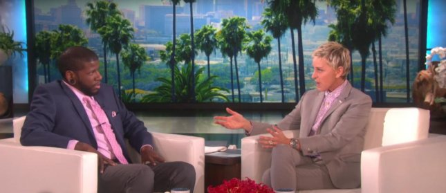 Ellen DeGeneres and terminally ill comedian Quincy Jones on The Ellen DeGeneres Show. DeGeneres surprised Jones by announcing that she had convinced HBO to air his stand-up comedy special. Photo courtesy of Ellen/Youtube