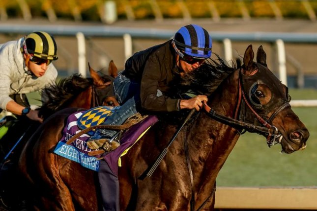 Eight Rings, seen working out at Santa Anita, is one of the top picks for Friday's $2 million Breeders' Cup Juvenile. Photo courtesy of Breeders' Cup -- Eclipse Sportswire