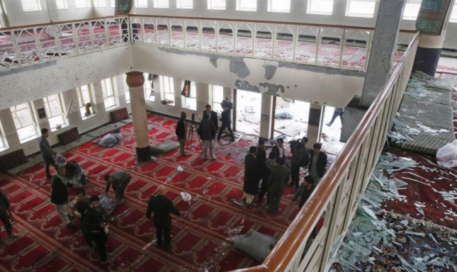 A suicide bombing in Kabul, Afghanistan's Baqir ul Olum mosque killed at least 27 people Monday. Officials believe an Islamic State terrorist detonated explosives as prayers ended. Photo by Jawad Jalali/European Press Agency