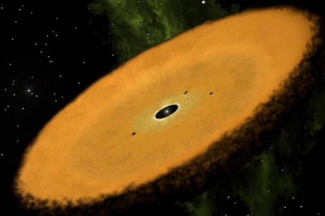 An artistic rendering shows what the oldest planet-forming circumstellar disk might look like. Photo by Jonathan Holden/Disk Detective