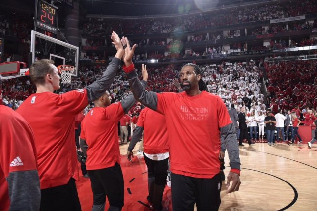 Rockets backup center Nene will miss the rest of the playoffs with a groin injury. Photo courtesy Houston Rockets via Twitter.