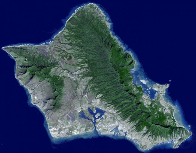 Oahu from space. Credit: NASA Earth Observatory