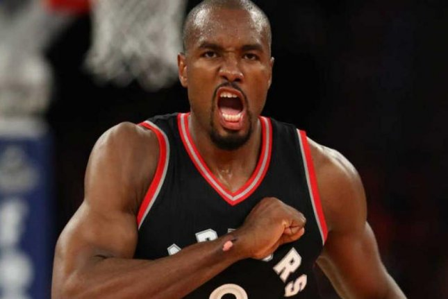 Free agent forward Serge Ibaka agreed to a three-year, $65 million contract to stay with the Toronto Raptors, according to reports Sunday. Photo courtesy of Toronto Raptors/Twitter