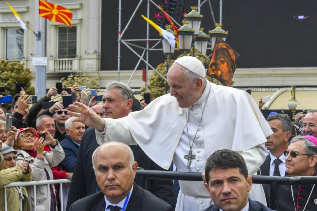 Pope Francis waves to well-wishers Tuesday before a mass in Macedonia Square in Skopje, North Macedonia. Photo by Georgi Licovski/EPA-EFE