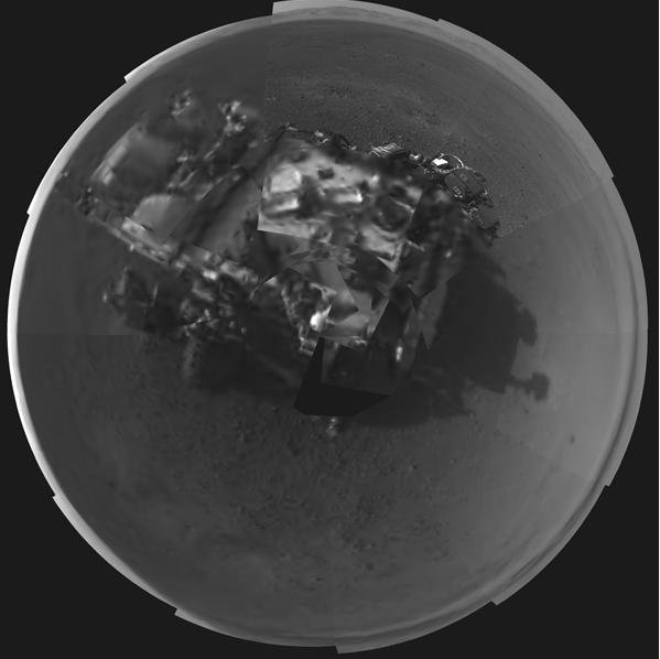 This Picasso-like self portrait of NASA's Curiosity rover was taken by navigation cameras located on the now-upright mast. Credit: NASA/JPL-Caltech