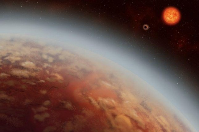 An artist's rendering shows the view from exoplanet K2-18b, looking out at its host star K2-18 and its planetary neighbor K2-18c. Photo by Alex Boersma/University of Montreal