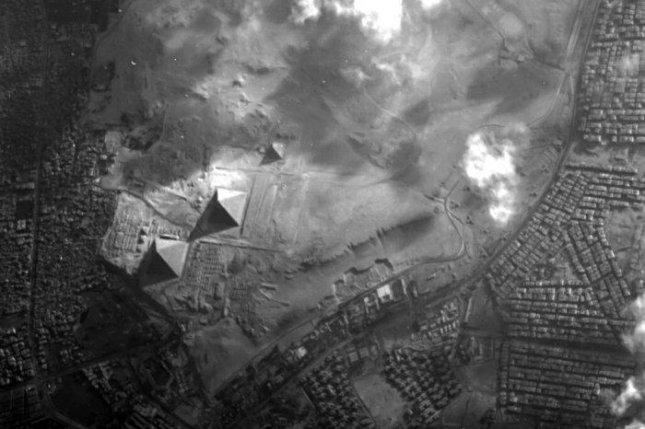 The Giza Pyramid Complex as seen from an altitude of roughly 400 miles. Photo by ESA/Proba-1