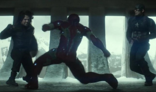 The new trailer for Marvel's Captain America: Civil War was released late Tuesday night by stars Chris Evans and Robert Downey Jr. on ABC's Jimmy Kimmel Live. Screen shot: Marvel/Youtube.