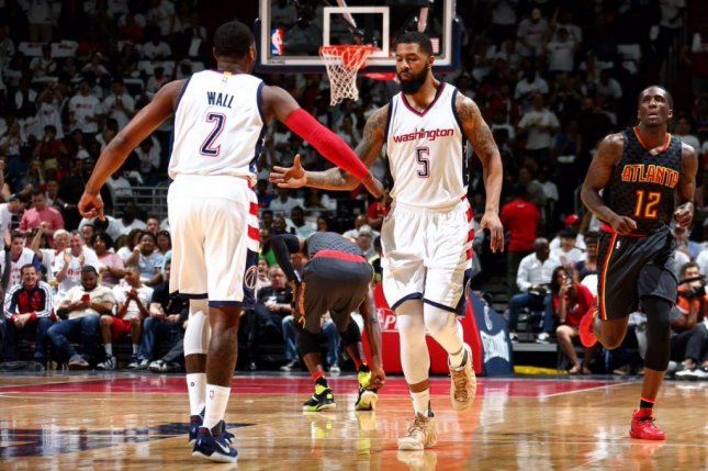 John Wall scored 32 points to lead the Washington Wizards over the Atlanta Hawks in Game 1 of their Eastern Conference playoff series. Photo courtesy Washington Wizards via Twitter.