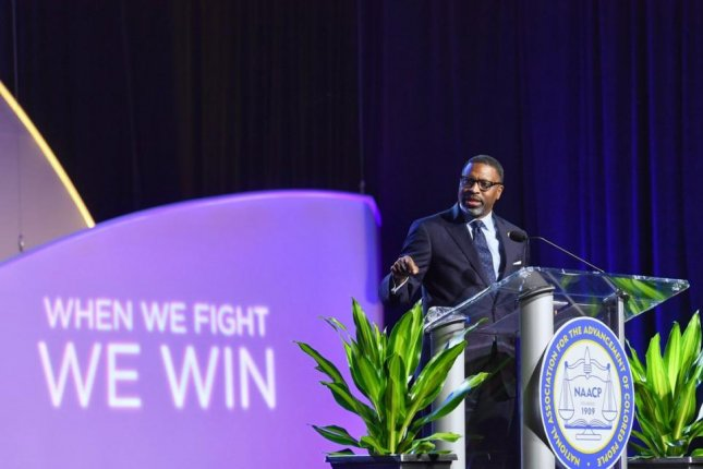 NAACP President Derrick Johnson said at his organization's 110th annual convention in Detroit, Mich., Tuesday President Donald Trump should be removed from office. Photo courtesy Derrick Johnson/Twitter