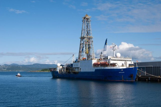 The latest research was made possible by a large collection of marine sediment corescollected during recent expeditions by research vessel JOIDES Resolution, pictured here at port in Victoria, British Columbia. Photo by A.L. Slagle