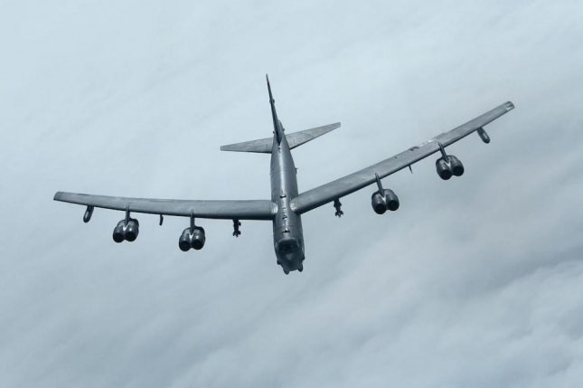 A U.S. Air Force B-52 bomber joined Greek and Norwegian fighter planes for an exercise over the Barents Sea, the U.S. European Command said this week. Photo by A1C Jessi Monte/U.S. Air Force