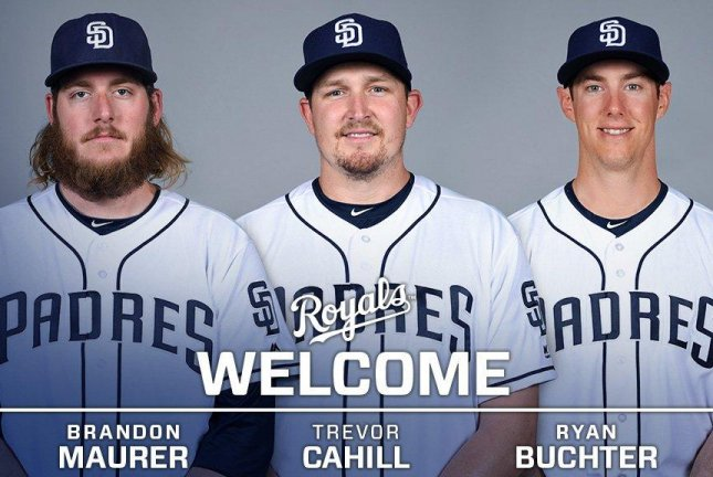 The Royals obtained left-hander Ryan Buchter and right-handers Trevor Cahill and Brandon Maurer in exchange for left-handers Matt Strahm and Travis Wood, minor league infielder Esteury Ruiz and cash considerations. Photo courtesy of Kansas City Royals/Twitter