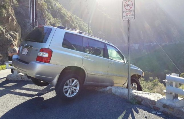 A driver lost control of his car and nearly drove it off a cliff in Malibu, north of Los Angeles on Monday afternoon. As he stumbled out of his SUV and onto the road, he was hit by a tour bus. The man was conscious when he was taken to a local hospital. His condition is not known. Photo by Lost Hills Sheriff's Station/Facebook.