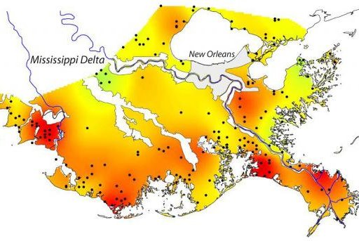 A new map developed at Tulane University highlights varying rates of subsidence along the Louisiana coast. Photo courtesy the Geological Society of America