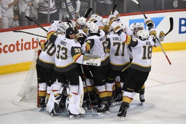 In its first season of existence, members of the Vegas Golden Knights celebrate after having reached the Stanley Cup finals. Photo courtesy of Vegas Golden Knights/Twitter