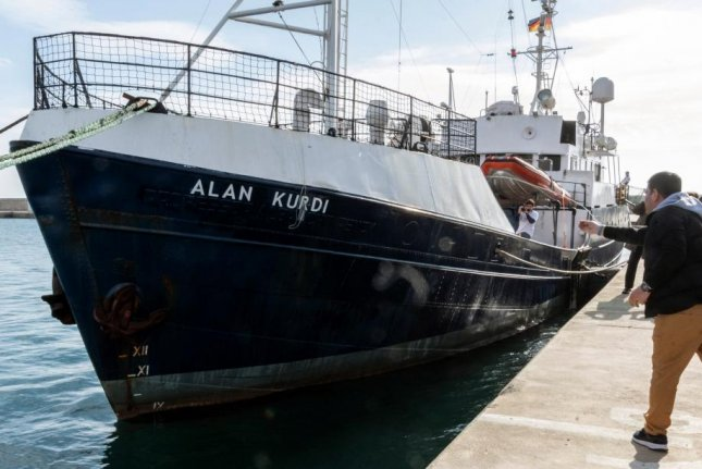 The Alan Kurdi, shown here in this February 2019 file photo, rescued 64 migrants off the coast of Libya earlier this month. File Photo EPA-EFE/Cati Caldera