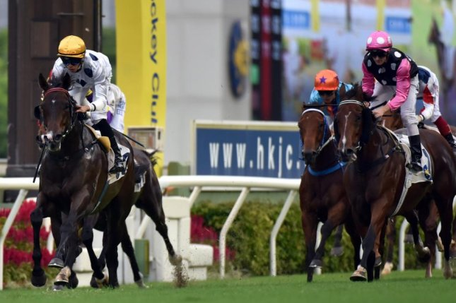 Golden Sixty arrives center stage in Hong Kong, defeating Beauty Generation in Sunday's Celebration Cup. Photo Courtesy of Hong Kong Jockey Club