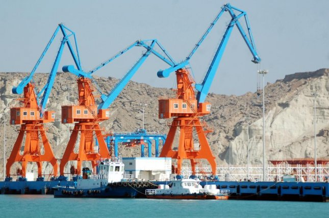 China and Pakistan agreed to build a railroad connecting China's western region of Xinjiang to Gwadar, a port city in Pakistan (pictured) in 2015. File Photo by Nadeem Khawer/EPA