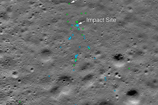 In the image, green dots represent likely pieces of the Vikram Lander spacecraft, while the blue dots represent bits of regolith excised by the collision. Photo by NASA/Goddard/Arizona State University