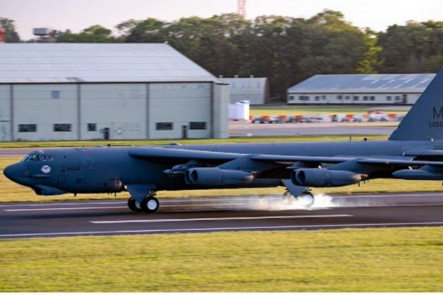 A U.S. Air Force B-52 bomber arrives at Royal Air Force Base Fairford, Britain -- one of six that arrived over the weekend -- for exercises with NATO partners. Photo courtesy of U.S. European Command