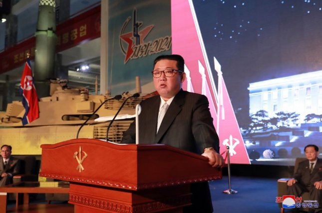 North Korean leader Kim Jong Un made remarks at a weapons exhibition in Pyongyang and blamed the United States for continued tensions on the Korean Peninsula, state-run media reported Tuesday. Photo by KCNA/EPA-EFE