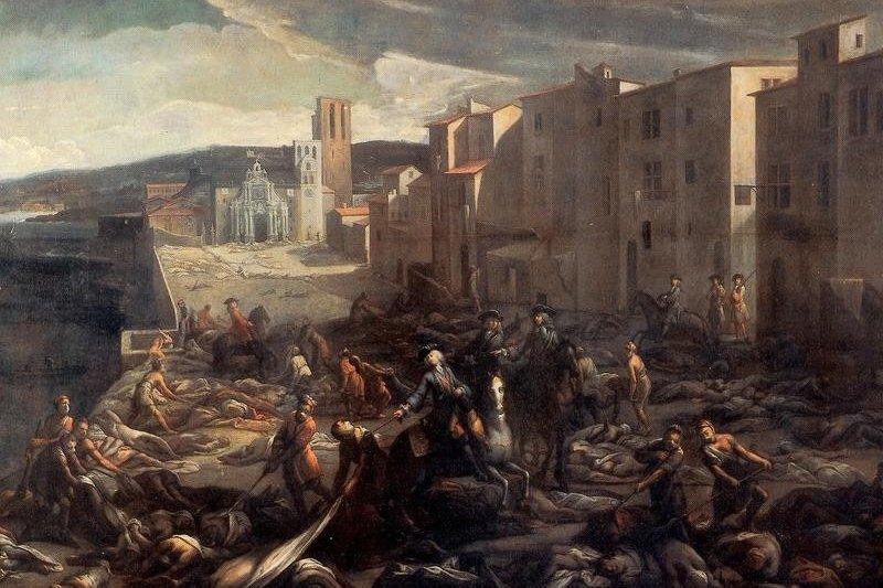 The painting Scène de la peste de 1720 à la Tourette by Michel Serre, currently housed in the Musée Atger, Montpellier, depicts the victims of the plague that struck Marseille, France, in 1720.