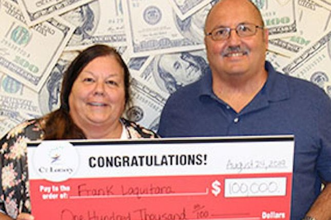 A Connecticut couple found a winning lottery ticket stashed in their car. Photo courtesy Connecticut Lottery
