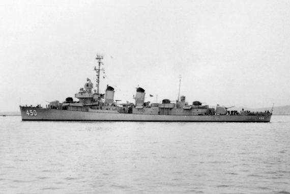 The U.S. Navy destroyer USS O'Bannon off the Mare Island Naval Shipyard, California on March 1, 1951. File photo courtesy of the U.S. Navy
