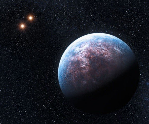 An artist impression of the Gliesse 667 system. A new planet orgbiting the star GJ 667C is at least 4.5 times as massive as Earth, which makes it a so-called super-Earth. (HO/ESO.org)