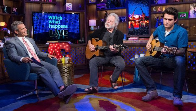 John Mayer (R) and Bob Weir perform the Grateful Dead classic Friend of the Devil on Watch What Happens Live with host Andy Cohen. Courtesy Bravo