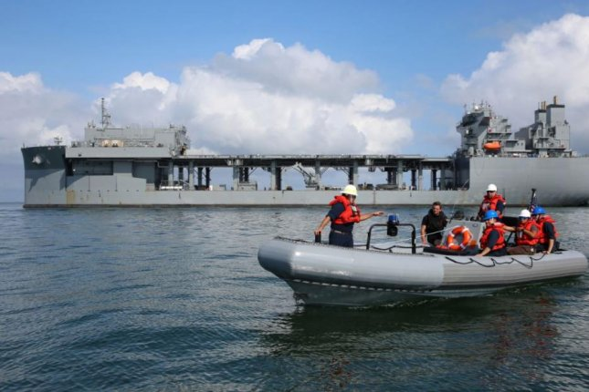 The USNS Hershel Woody Williams launched an inflatable boat during a mine-countermeasures training exercise in Chesapeake Bay on September 15, 2019. Photo by Bill Mesta/U.S. Navy