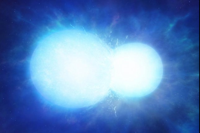 Astronomers estimate a massive white dwarf star in the nearby universe was formed by the merging of two smaller white dwarfs. Photo by University of Warwick/Mark Garlick